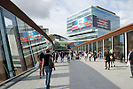 Footbridge leading into Westfield Stratford City shopping centre, London, England