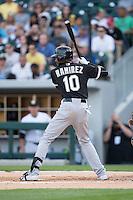 Chicago White Sox shortstop Alexei Ramirez (10) at bat against the Charlotte Knights at BB&T Ballpark on April 3, 2015 in Charlotte, North Carolina.  The Knights defeated the White Sox 10-2.  (Brian Westerholt/Four Seam Images)