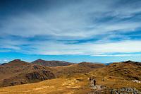 Looking towards Cruach Ardrain, Beinn Tulaichean and Stob Binnein from Beinn a' Chroin above Crianlarich, Loch Lomond and the Trossachs National Park, Stirlingshire