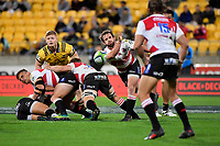 Lions' Nic Groom in action during the Super Rugby - Hurricanes v Lions at Westpac Stadium, Wellington, New Zealand on Saturday 5 May 2018.<br /> Photo by Masanori Udagawa. <br /> www.photowellington.photoshelter.com