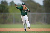 Babson Beavers shortstop Thomas Lapham (45) during a game against the Edgewood Eagles on March 18, 2019 at Lee County Player Development Complex in Fort Myers, Florida.  Babson defeated Edgewood 23-7.  (Mike Janes/Four Seam Images)