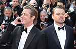 "72nd edition of the Cannes Film Festival in Cannes in Cannes, southern France on May 21, 2019. Red Carpet for the screening of the film ""Once Upon a Time... in Hollywood"" US actor Brad Pitt, US actor Leonardo DiCaprio on the red carpet.<br /> © Pierre Teyssot / Maxppp"