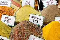 Traditional spices - saffron, curry, Ottoman, in Misir Carsisi Egyptian Bazaar food and spice market, Istanbul, Turkey