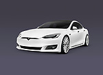 2018 Tesla Model S, white luxury electric car isolated on dark blue gray background with a clipping path