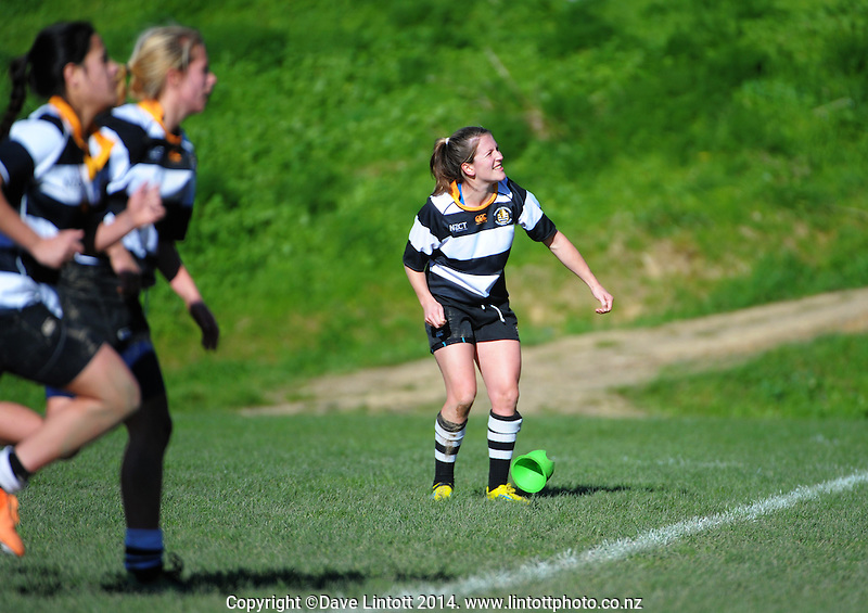 Ories kicker Lizzie Goulden watches her penalty attempt during the Victoria Tavern Trophy Wellington women's club rugby match between Northern United and Oriental-Rongotai at Porirua Park, Porirua, Wellington, New Zealand on Saturday, 5 July 2014. Photo: Dave Lintott / lintottphoto.co.nz