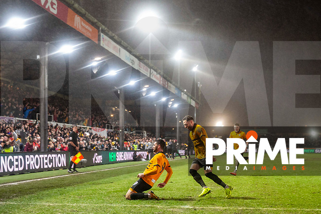 Padraig Amond of Newport County celebrates scoring his side's second goal during the FA Cup 4th round replay match between Newport County and Middlesbrough at Rodney Parade, Newport, Wales on 5 February 2019. Photo by Mark  Hawkins / PRiME Media Images.