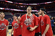 Washington, DC - MAR 11, 2018: Tournament MVP Davidson Wildcats forward Peyton Aldridge (23) celebrates after winning the Atlantic 10 men's basketball championship between Davidson and Rhode Island at the Capital One Arena in Washington, DC. (Photo by Phil Peters/Media Images International)