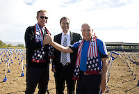 Earthquakes General Manager John Doyle, Club President Dave Kaval and Owner Lew Wolff pose together for group photo during Groundbreaking Ceremony at new stadium in Santa Clara, California on October 21st, 2012.  San Jose Earthquakes broke Guinness World Record for 6,256 people break ground on Quakes' new stadium.
