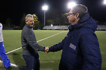 DURHAM, NC - NOVEMBER 11: Duke head coach Robbie Church (left) and UNCG head coach Michael Coll (right) shake hands before the game. The Duke University Blue Devils hosted the UNCG Spartans on November 11, 2017 at Koskinen Stadium in Durham, NC in an NCAA Division I Women's Soccer Tournament First Round game. Duke won the game 1-0.