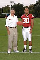 7 August 2006: Stanford Cardinal head coach Walt Harris and Marcus McCutcheon during Stanford Football's Team Photo Day at Stanford Football's Practice Field in Stanford, CA.