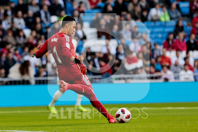 Real Madrid's Keylor Navas during Copa del Rey match between Real Madrid and UD Melilla at Santiago Bernabeu Stadium in Madrid, Spain. December 06, 2018. (ALTERPHOTOS/A. Perez Meca)