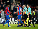 Crystal Palace's Wilfred Zaha gets booked as he goes off at half time for arguing with the referee during the premier league match at Selhurst Park Stadium, London. Picture date 28th December 2017. Picture credit should read: David Klein/Sportimage
