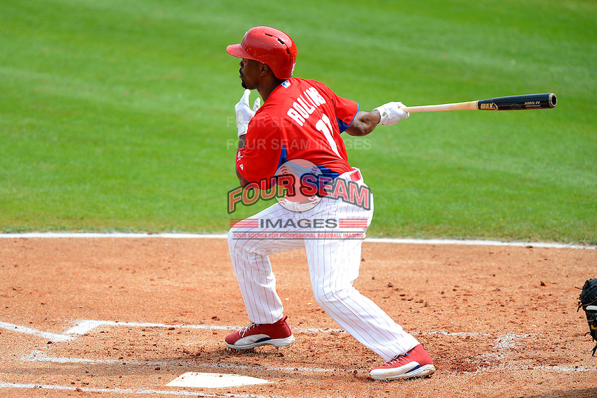 Philadelphia Phillies shortstop Jimmy Rollins #11 during a Spring Training game against the New York Yankees at Bright House Field on February 26, 2013 in Clearwater, Florida.  Philadelphia defeated New York 4-3.  (Mike Janes/Four Seam Images)