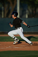 AZL D-backs Corbin Carroll (2) hits a double to right field during an Arizona League game against the AZL Mariners on July 3, 2019 at Salt River Fields at Talking Stick in Scottsdale, Arizona. The AZL D-backs defeated the AZL Mariners 3-1. (Zachary Lucy/Four Seam Images)