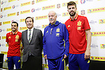 Pedro Rodriguez, Lluis Torrent, CEO of Panini Spain, coach Vicente del Bosque and Gerard Pique during trade event during Spanish national football team staff. March 21,2016. (ALTERPHOTOS/Acero)