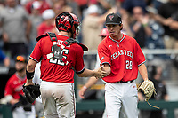 Texas Tech Red Raiders pitcher Tanner Floyd (28) celebrates closing out Game 5 of the NCAA College World Series against the Arkansas Razorbacks on June 17, 2019 at TD Ameritrade Park in Omaha, Nebraska. Texas Tech defeated Arkansas 5-4. (Andrew Woolley/Four Seam Images)
