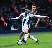 West Bromwich Albion U18's George Harmon shields the ball from  Lincoln City U18's Tobias Liversidge<br /> <br /> Photographer Andrew Vaughan/CameraSport<br /> <br /> FA Youth Cup Round Three - West Bromwich Albion U18 v Lincoln City U18 - Tuesday 11th December 2018 - The Hawthorns - West Bromwich<br />  <br /> World Copyright &copy; 2018 CameraSport. All rights reserved. 43 Linden Ave. Countesthorpe. Leicester. England. LE8 5PG - Tel: +44 (0) 116 277 4147 - admin@camerasport.com - www.camerasport.com