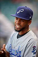 Pensacola Blue Wahoos pitcher Juan Martinez (8) during a game against the Birmingham Barons on May 8, 2018 at Regions Field in Birmingham, Alabama.  Birmingham defeated Pensacola 5-2.  (Mike Janes/Four Seam Images)
