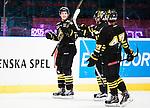 Stockholm 2015-09-30 Ishockey Hockeyallsvenskan AIK - Leksands IF :  <br /> AIK:s Malte Str&ouml;mwall firar sitt 5-1 m&aring;l med lagkamrater Jonathan Andersson och Eric Norin under matchen mellan AIK och Leksands IF <br /> (Foto: Kenta J&ouml;nsson) Nyckelord:  AIK Gnaget Hockeyallsvenskan Allsvenskan Hovet Johanneshov Isstadion Leksand LIF jubel gl&auml;dje lycka glad happy