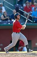 Ryan Stovall #5 of the Visalia Rawhide bats against the Inland Empire 66ers at San Manuel Stadium on August 11, 2013 in San Bernardino, California. Visalia defeated Inland Empire, 11-1. (Larry Goren/Four Seam Images)