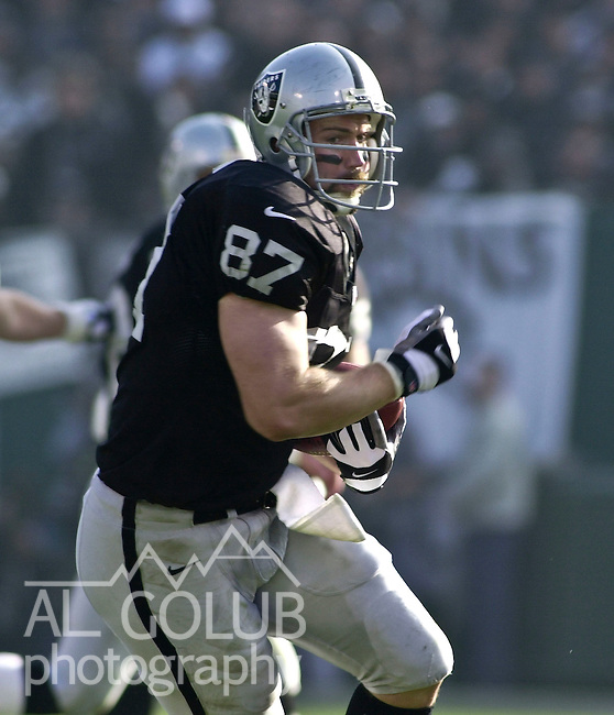 Oakland Raiders vs. Miami Dolphins at Oakland Alameda County Coliseum Saturday, January 6, 2001.  Raiders beat Dolphins  27-0.  tight end Jeremy Brigham (87).