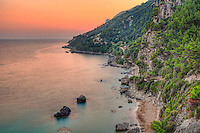 The sunset at Myrtiotissa beach of Corfu, Greece