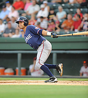 Infielder Fernando De Los Santos (1) of the Rome Braves, an Atlanta Braves affiliate, in a game against the Greenville Drive on August 15, 2012, at Fluor Field at the West End in Greenville, South Carolina. Rome won, 6-1. (Tom Priddy/Four Seam Images)