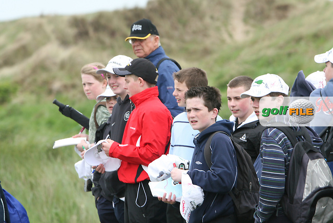 Spectators watch the Pro-Am at the Irish Open in Co.Louth Golf Club,  Baltray...Photo NEWSFILE/Jenny Matthews.(Photo credit should read Jenny Matthews/NEWSFILE)....This Picture has been sent you under the condtions enclosed by:.Newsfile Ltd..The Studio,.Millmount Abbey,.Drogheda,.Co Meath..Ireland..Tel: +353(0)41-9871240.Fax: +353(0)41-9871260.GSM: +353(0)86-2500958.email: pictures@newsfile.ie.www.newsfile.ie.FTP: 193.120.102.198.