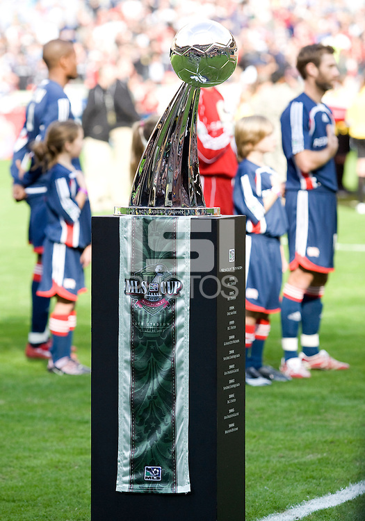 Alan I. Rothenberg Trophy. The Houston Dynamo defeated the New England Revolution 2-1 in the finals of the MLS Cup at RFK Memorial Stadium in Washington, D. C., on November 18, 2007.