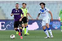 Franck Ribery of Fiorentina and Sandro Tonali of Brescia Calcio during the Serie A football match between ACF Fiorentina and Brescia Calcio at Artemio Franchi stadium in Florence ( Italy ), June 22th, 2020. Play resumes behind closed doors following the outbreak of the coronavirus disease. <br /> Photo Antonietta Baldassarre / Insidefoto