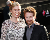 "HOLLYWOOD, LOS ANGELES, CA, USA - MAY 08: Clare Grant, Seth Green at the Los Angeles Premiere Of Warner Bros. Pictures And Legendary Pictures' ""Godzilla"" held at Dolby Theatre on May 8, 2014 in Hollywood, Los Angeles, California, United States. (Photo by Xavier Collin/Celebrity Monitor)"