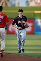 Jupiter Hammerheads center fielder Brian Miller (5) jogs back to the dugout during a game against the Clearwater Threshers on April 9, 2018 at Spectrum Field in Clearwater, Florida.  Jupiter defeated Clearwater 9-4.  (Mike Janes/Four Seam Images)