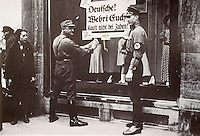 "Nazi Culture:  Brownshirts boycotting the N. Israel Department Store, 1933. ""Germans, Restrain Yourselves.""  Reference only."