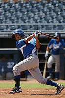 Mauricio Ramos #9 of the AZL Royals bats against the AZL Padres at Peoria Sports Complex on July 24, 2012 in Surprise, Arizona. Padres defeated Royals 9-7. (Larry Goren/Four Seam Images)