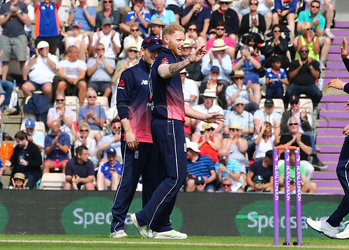 May 27th 2017, Ageas Bowl, Southampton, Hampshire, England, One Day Cricket International England versus South Africa; Ben Stokes of England celebrates with England's Captain Eoin Morgan, after Morgan caught Hashim Amla of South Africa, off Stokes bowling