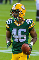 Green Bay Packers cornerback Raysean Pringle (46) during a preseason football game against the Philadelphia Eagles on August 10, 2017 at Lambeau Field in Green Bay, Wisconsin. Green Bay defeated Philadelphia 24-9.  (Brad Krause/Krause Sports Photography)