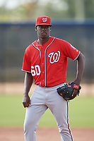 Washington Nationals pitcher Jose De Los Santos (60) doing pitching drills before a Minor League Spring Training game against the Miami Marlins on March 28, 2018 at FITTEAM Ballpark of the Palm Beaches in West Palm Beach, Florida.  (Mike Janes/Four Seam Images)