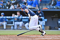 Asheville Tourists left fielder Sam Hilliard (25) swings at a pitch during a game against the Rome Braves at McCormick Field on April 14, 2016 in Asheville, North Carolina. The Tourists defeated the Braves 5-4. (Tony Farlow/Four Seam Images)