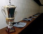 The Gallagher Cup in the All Blacks changing room.