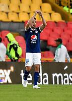 BOGOTÁ - COLOMBIA, 22-07-2018: Gabriel Hauche, jugador de Millonarios, celebra el gol anotado a Boyaca Chico F. C., durante partido de la fecha 1 entre Millonarios y Boyacá Chicó F. C., por la Liga Aguila II-2018, jugado en el estadio Nemesio Camacho El Campin de la ciudad de Bogota. / Gabriel Hauche, player of Millonarios celebrates the scored goal to Boyaca Chico F. C., during a match of the 1st date between Millonarios and Boyaca Chico F. C., for the Liga Aguila II-2018 played at the Nemesio Camacho El Campin Stadium in Bogota city, Photo: VizzorImage / Luis Ramirez / Staff.