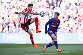 18th March 2018, Camp Nou, Barcelona, Spain; La Liga football, Barcelona versus Athletic Bilbao; Philippe Coutinho of FC Barcelona fights for the ball with Saborit of Athletic Club de Bilbao