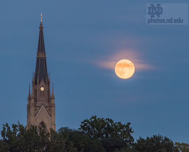 Sep. 8, 2014; 2014 Basilica steeple and moon. (photo by Matt Cashore/University of Notre Dame)
