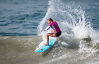 Huntington Beach, CA - Saturday August 4, 2018: Lakey Peterson in action during a World Surf League (WSL) World Championship Tour (WCT) Round 3 heat at the 2018 Vans U.S. Open of Surfing on South side of the Huntington Beach pier.