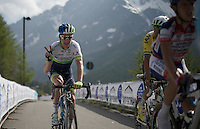 Simon Clarke (AUS/Orica-GreenEDGE) is happy to reach the summit of the finishing Cervinia climb (2001m)<br /> <br /> Giro d'Italia 2015<br /> stage 19: Gravellona Toce - Cervinia (236km)