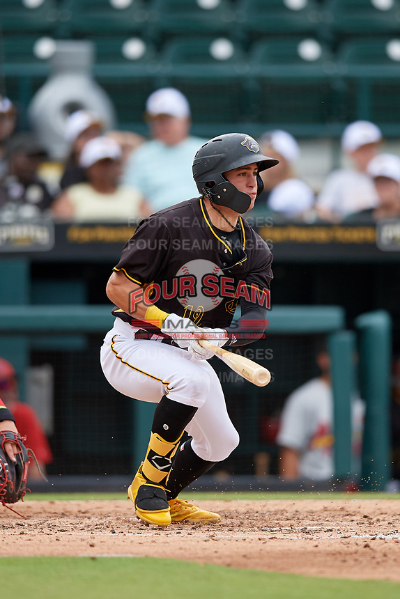 Bradenton Marauders Travis Swaggerty (12) at bat during a Florida State League game against the Palm Beach Cardinals on May 10, 2019 at LECOM Park in Bradenton, Florida.  Bradenton defeated Palm Beach 5-1.  (Mike Janes/Four Seam Images)
