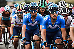 The peloton including Spanish Champion Alejandro Valverde (ESP) Movistar Team during Stage 1 of Criterium du Dauphine 2020, running 2185km from Clermont-Ferrand to Saint-Christo-en-Jarez, France. 12th August 2020.<br /> Picture: ASO/Alex Broadway | Cyclefile<br /> All photos usage must carry mandatory copyright credit (© Cyclefile | ASO/Alex Broadway)