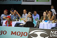 Fans watch during the ANZ Netball Championship match between the Central Pulse and NSW Swifts at TSB Bank Arena, Wellington, New Zealand on Saturday, 25 April 2015. Photo: Dave Lintott / lintottphoto.co.nz