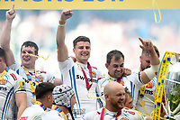 Ollie Devoto of Exeter Chiefs celebrates on the winners podium. Aviva Premiership Final, between Wasps and Exeter Chiefs on May 27, 2017 at Twickenham Stadium in London, England. Photo by: Patrick Khachfe / JMP