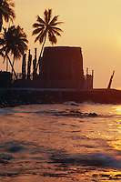 Hale O Keawe Heiau at sunset<br />