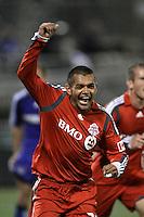 Amado Guevara celebrates his second goal and Toronto's third..Toronto FC defeated Kansas City Wizards 3-2 at Community America Ballpark, Kansas City, Kansas on March 19, 2009.